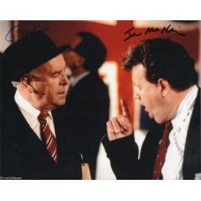 George Cole & Ian McNeice Autograph - Minder - 10x8 Photo - Hand Signed - AFTAL