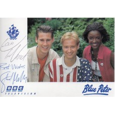 Blue Peter Cast Card Signed by 2 Cast Members - Handsigned - AFTAL