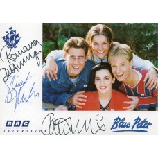 Blue Peter Cast Card Signed by 3 Cast Members - Handsigned - AFTAL