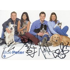 Blue Peter Cast Card Signed by 4 Cast Members - Handsigned - AFTAL