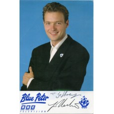 John Leslie Autograph - Blue Peter - Signed 6x4 Cast Card 1  - Handsigned - AFTAL