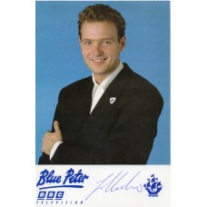 John Leslie Autograph - Blue Peter - Signed 6x4 Cast Card 2 - Handsigned - AFTAL